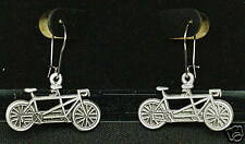 Pewter Tandem Bicycle Dangle Earrings by Empire Pewter