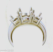 THREE STONE RING MOUNTING 14K WHITE GOLD FOR 1CT T.W CENTER 5MM AND SIDE 4MM