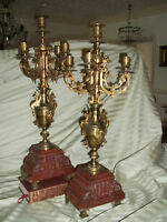 """Heavy Antique Brass Red Marble Candelabra Holders Pair Tuscan Style """"Old World"""""""