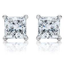 Princess Cut Solitaire 4.00 ct Diamond Stud 14K White Gold Earring Womens 1186