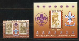 Peru- Scott 1329-1330 MNH Boy Scouts Pair and Souvenir Sheet