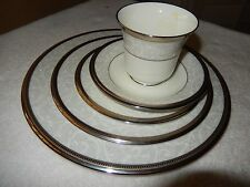 New Noritake  4806  Lenore Platinum 5 Place Dinner Setting  NWT'S  Retail $150