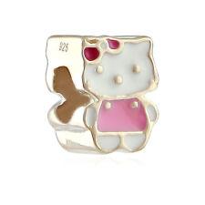 """Nuevo"" Abalorio de plata,ley1º,Esmaltado-Hello Kitty-Nº7"