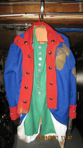 A true to life Revolutionary war coat,vest and tricorner hat for reenacting