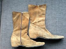Ladies Bertie Dark Tan Suede Zip Fastening Hidden Wedge Boots Size EU 40= UK 7