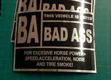 BAD ASS VEHICLE WARNING DECAL STICKER HUMOUR FUNNY NOVELTY CAR DECALS STICKERS