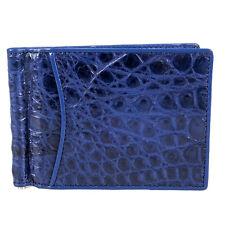 Genuine Crocodile Leather Money Clip Bifold Credit Card Holder KTM Blue Wallet