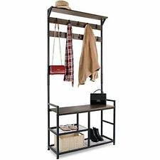 3 In 1 Coat Rack Shoe Bench Hall Tree Entryway With Storage & Metal Frame New