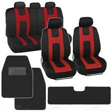 Rome Racing Sports Red Car Seat Cover + Black Carpet Floor Mats - 12PC Set