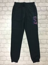 EMPORIO ARMANI EA7 JUNIOR 14A 14 YEAR BLACK LOGO FLEECE JOGGERS ACTIVEWEAR