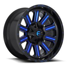 (4) 20x10 Fuel Black W/ Candy Blue Hardline Wheels 8x170 For 03-19 F250 F350