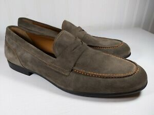 Bruno Magli Silas Taupe Suede Penny Loafer Made In Italy Size 11 D