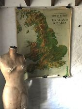 Vintage Educational School Physical Map/Wall Chart of England and Wales