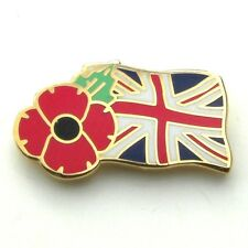POPPY BADGE WITH UNION JACK FLAG  - Remembrance Day UK, Poppy Day, UK Seller