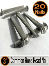 "(20) 3"" - COMMON ROSE HEAD NAIL  - Antique Vintage Rustic Nails - 10d"
