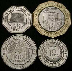 SIERRA LEONE 10 Leones / 500 Leones 1996 & 2016  - Lot of 4 Coins - UNC *