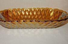 Vintage Amber CARNIVAL Glass Candy NUT FRUIT DISH  Cracker Bread Basket Weave
