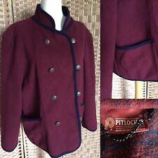 """VINTAGE PITLOCHRY Burgundy 65% Wool Cardigan Jacket Sz 22 L26"""" SHOULDER PADS"""