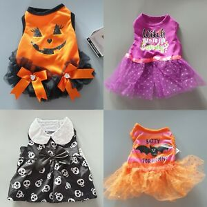 Halloween Dog Dress Spooky Fancy Dress Outfit Party Costume Skulls Pumpkin Bat