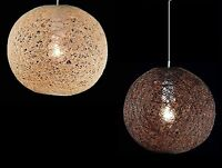 Natural Rattan woven Globe Ball Style Ceiling Pendant Light shade chandelier
