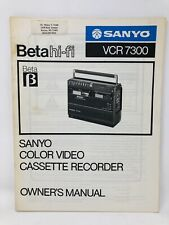 Sanyo VCR 7300 Color Video Cassette Recorder Instruction Owners User Manual