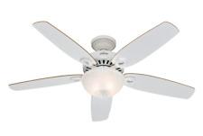 """132cm 52"""" indoor ceiling fan with bowl light kit Hunter Builder Deluxe White"""