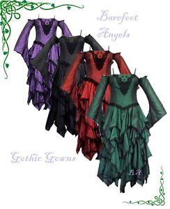 Dark Star Faux Silk Tiered Cascade Dress Ball Gown Gothic Steampunk  FREESIZE