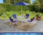 6 Piece Outdoor Patio Dining Set Garden Furniture Set With Umbrella, Royal Blue