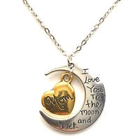I Love You To The Moon And Back Gold & Silver Family Necklace Pendant Heart Gift