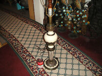 Vintage Art Deco Hollywood Regency Table Lamp Gold Metal White Accents
