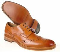 Mens Full Leather Tan Brogue Kensington Shoes Size UK 6 7 8 9 10 11 12
