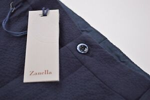 Zanella NWT Casual Pants / Chinos Size 36 In Solid Blue Seersucker Cotton Noah