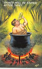 POSTCARD  COMIC   Castor  Oil     Cooking  Pot....