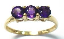 TRILOGY 10KT SOLID YELLOW GOLD ROUND CUT AMETHYST RING SIZE 7   R1333