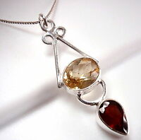 Two-Gem Faceted Citrine and Garnet Pendant 925 Sterling Silver Oval Teardrop