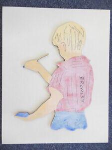 David Bromley Original Painting Acrylic on BOARD - YOUNG ARTIST SHADOW BOY+COA
