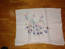 New listing Vintage Peacock cotton Cloth, embroidered, Tea Towel. whites, with embroidery,