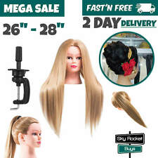 Mannequin Head With Hair Female Cosmetology Model Training Display Clamp Stand