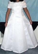 Girls Holy Communion Dress White, Size 6