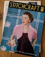 STITCHCRAFT Magazine May 1953 Coronation patterns for knitting and embroidery