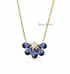 14K Gold Genuine Diamond And Pear Shape Blue Sapphire Floral Pendant Necklace
