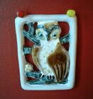 Vintage Iparmuveszeti Vallalat Ceramic Wall Plaq Tile OWL design Hand painted