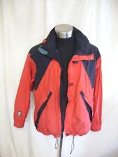 "Mens Jacket Helly Hansen red black trims L, chest 48"", hood walking outdoor 8044"