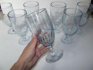 (8) Ice Tea / Water Goblets Glasses, Martha Stewart Everyday MSE Blue Swirl MWY4