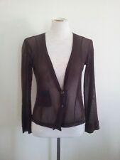 Lee Mathews size 2 v-neck chocolate mesh long sleeve top (estimate cotton mesh)