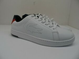 Lacoste Men's Low-Cut Carnaby Evo Light Wt. Casual Sneakers White/Navy/Red 12M