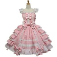 Womens Sweet Kawaii Lace Layered Sling Gothic Dolly Strap Dress Cosplay Costume