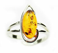 Lovely Baltic Amber & 925 Sterling Silver Designer Ring GL407A
