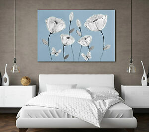 LARGE BEAUTIFUL CANVAS ART BLUE GREY WHITE FLOWERS BEDROOM LOUNGE PICTURE PRINT