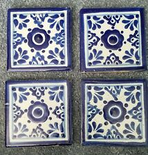"4 Antique 4""x4"" Floor or Wall Tiles Blue and White"